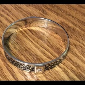"Coach Silver & Black 1/2"" Bangle Bracelet"